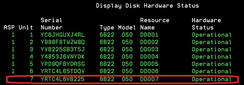 Display Disk Hardware Status